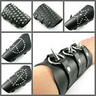 UH081 New Rock VERY WIDE Stud Punk Black Leather Wristband Rock Cuff Bracelet