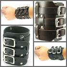 UH090 Rock Brown/Black REAL Leather 3 Buckles Wide Wristband Cuff Punk Bracelet
