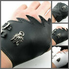 UW25 NEW Gothic Design Handmade Punk Leather Pair Fingerless Glove with Dargon