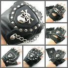 UW27 Punk Handmade Gothic Fingerless Leather Pair Glove SKULL with STUD/Chain