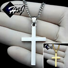 "18-30""Stainless Steel 3mm Gold/Silver Cuban Curb Chain Necklace Cross Pendant*P"