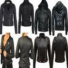 NEW LADIES FAUX LEATHER PVC QUILTED RIBBED BIKER JACKET WOMENS BOMBER COAT 8-14