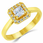 14K Solid Yellow Gold CZ Cubic Zirconia Solitaire Halo Design Engagement Ring