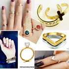 SET Knuckle Heart Bowknot Cross Plain Band Nail Midi Finger Ring Top Stacking UK
