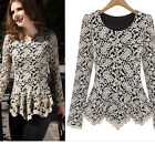 New Women's Celebrity Style Lace Crochet Tops Peplum Hollow Out Tunic Top Blouse
