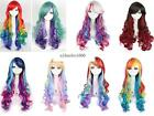 2014 New long rainbow multi-color natural wave party costumes cosplay hair wig