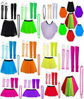 New Neon UV Tutu Gloves Leg Warmers Beads Set Fancy Dress 1980s Costume Dance