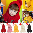 Hi Toddler Knit Baby Crochet Winter Warm Hooded Hat Cap Scarf Shawl Cape Cloak