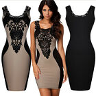 Sexy Floral Lace Contrast Clubwear Cocktail Evening Party Bodycon Mini Dress