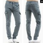 men s casual slim straight fitted cargo pants jeans trouser sale UK GREY waist