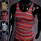 New Mucle Sexy Sleeveless Men's Striped Tank Top Vest T-shirt Tee XS S M