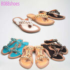 Women's Causal Slip On Chunky Chain Thong T- Strap Flat Sandal Shoes Size 5 - 10