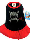 New Red & Black Sparkle Punky Skull Dress Dog Clothes Pet Clothing - Pet Flys