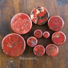 "Pair of Red Poppy Jasper Organic Stone Plugs Double Flared - 2g to 1"" -10 sizes image"