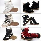 NEW Women Velcro Strap High-TOP Invisible High Sneakers Shoes Wedge Ankle Boots