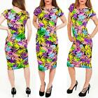 Womens Ladies New Multicoloured Tropical Floral Midi Dress Size S M L 8 10 12