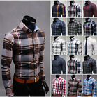 Men's Casual Long Sleeve Slim Fit Plaids Shirt Turn-down Collar 19 Colors MCL195