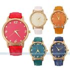 Elegant Gold Women Lady Leather Band Analog Quartz Sport Wrist Watch