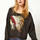 Women Skull Indian Headdress Loose Printed Punk Blouse Tops Long Sleeve T-shirts