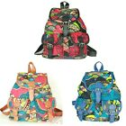 Women girl fashion Retro Printing Flower Canvas Small Backpack Shoulder Bag