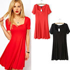 Womens Sexy Cotton Ladies Evening Party Mini Dress Square Neck Cocktail Clubwear
