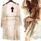 Sexy Womens Vintage Flora Sheer Lace Crochet Loose Long Top Blouse Cardigan Coat
