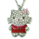GIFT Shinning CZ diamantes Hellokitty long chain Sweater Necklace clear stock
