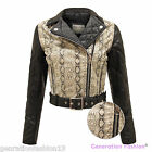 LADIES SNAKE SKIN PATTERN FAUX LEATHER PVC BELTED BIKER JACKET QUILTED PU COAT