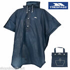 TRESPASS Re-usable Waterproof Showerproof Rain Poncho Cape Navy Emergency Hood