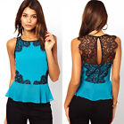 Womens See-through Lace Spliced Shirt Cutout Back Casual Blouse Tops US size