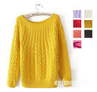 lady Casual one size Round Neck New Knit Jumper Pullover Loose Sweater Coat Tops