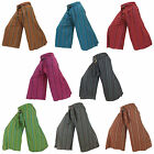 Hippy Hippie Boho Baggy Wide Leg Flares Striped Coconut Buckle Pants Trousers
