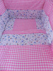 BEAUTIFUL VINTAGE GINGHAM AND DITSY PRINT  CRIB COT OR COTBED  SET.