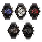 Chic Mens Oulm Faux Leather Watch Dual Time Zone Analog Quartz Sport Wrist Watch