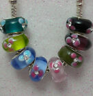 'GEM DAISIES' - 1 X  Flower Murano Glass Bead  With Rhinestones- Various Colours