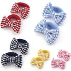GIRLS SCHOOL 2pc NAVY YELLOW RED BLUE GINGHAM BOWS HAIR ELASTICS BOBBLES PONIOS