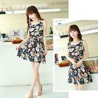 Summer Sweet Women Sleeveless Tunic Chiffon Mini Dress Printed Sundress Skirts