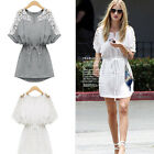 Lady Chiffon Loose Batwing Sleeve Flower Crochet Hollow Shoulder Shoulder Dress