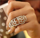 Hot Sell Fashion New Alloy Crystal Flower Hollow Joint Armor Knuckle Ring Free