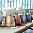 Womens Vintage Faux Crocodile Lined Print Tote Handbag Shoulder Bag New BP1142