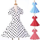 FREE P&P~~Short Sleeve Rockabilly 40s Vintage Prom Party Evening Tea Dress Swing