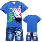 Blue Boys Girls Kids Oink Peppa Pig T-Shirt +Denim Shorts Outfit Suits 2-8 Years
