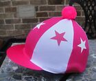 Lycra Riding Hat Silk Skull cap Cover HOT PINK * WHITE STARS *With OR w/o Pompom