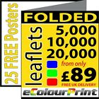Folded leaflets / flyers / Menus A3, A4 or A5on 150gms. Printing in Full Colour