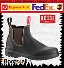 Rossi Endura Mens Work Boots Chelsea Brown Oil Kip Leather Australian Made 303