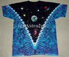SPACE TOP--Liquid Blue Tie Dyed 2 sided Astronomy Science Planets T shirt M-8XL image