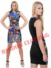 New Womens Ladies Abstract Print Stretchy Bodycon Midi Dress Paisley Print