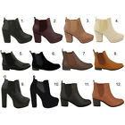 Womens Ankle Chelsea Boots Flat Low High Heel Elasticated Shoes Size New