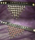 Gothic Black Wristband With Red Or Clear Gems And Crosses