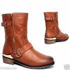 Women's Fashion Round Toe Low Heel Mid-Calf Faux Leather Boot Shoes Size 6 to10